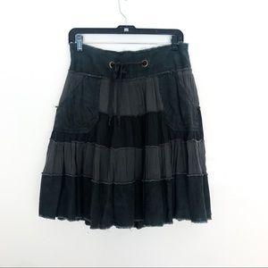 FREE PEOPLE Vintage Distressed Tiered Boho Skirt